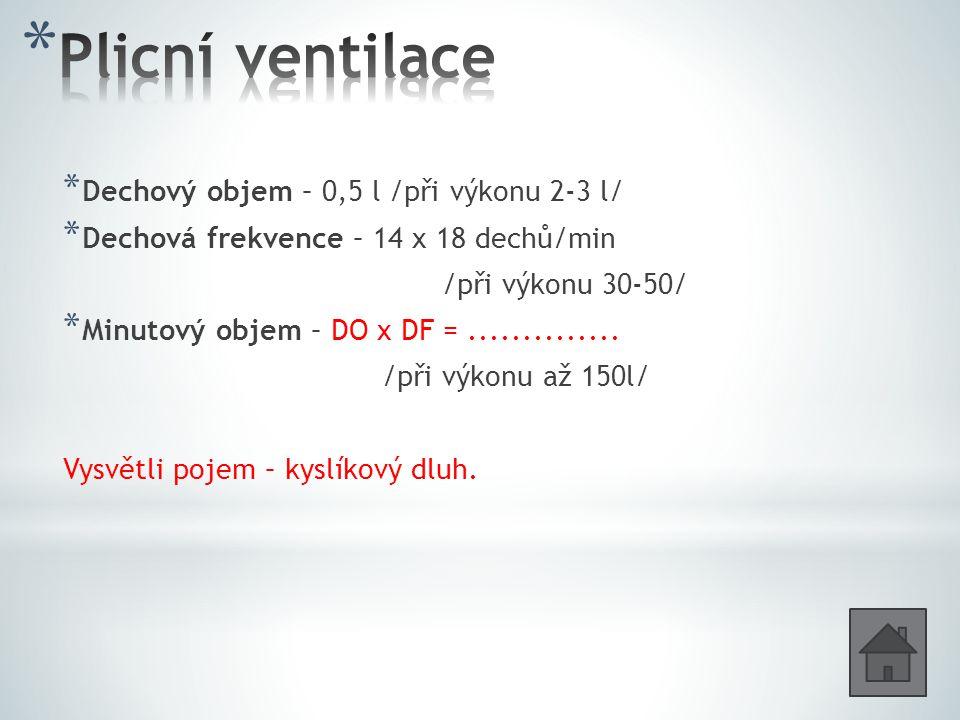 * Dechový objem – 0,5 l /při výkonu 2-3 l/ * Dechová frekvence – 14 x 18 dechů/min /při výkonu 30-50/ * Minutový objem – DO x DF =..............