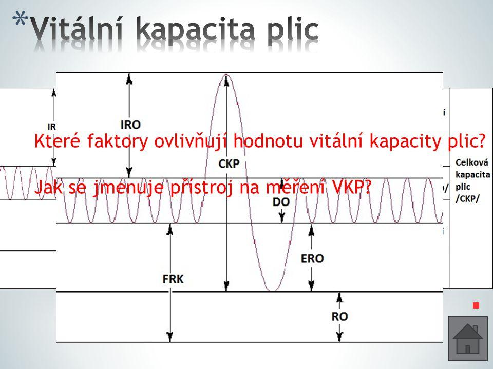 Které faktory ovlivňují hodnotu vitální kapacity plic? Jak se jmenuje přístroj na měření VKP?