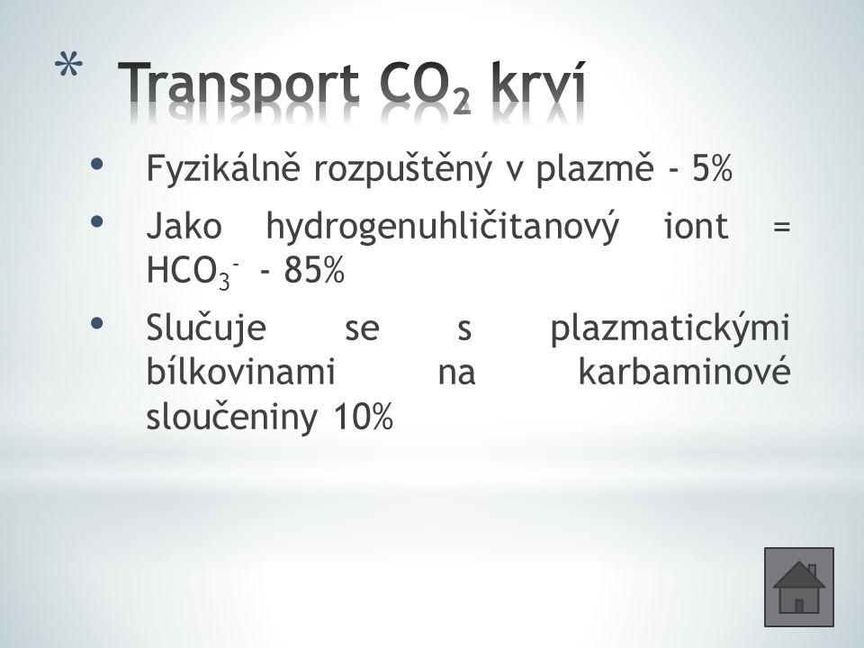 Fyzikálně rozpuštěný v plazmě - 5% Jako hydrogenuhličitanový iont = HCO 3 - - 85% Slučuje se s plazmatickými bílkovinami na karbaminové sloučeniny 10%