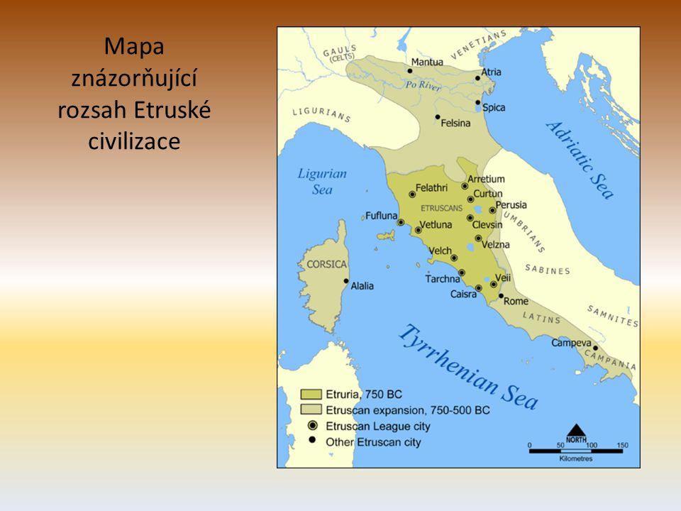 Mapa znázorňující rozsah Etruské civilizace