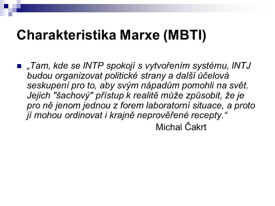 """Charakteristika Marxe (MBTI) """"Tam, kde se INTP spokojí s vytvořením systému, INTJ budou organizovat politické strany a další účelová seskupení pro to,"""