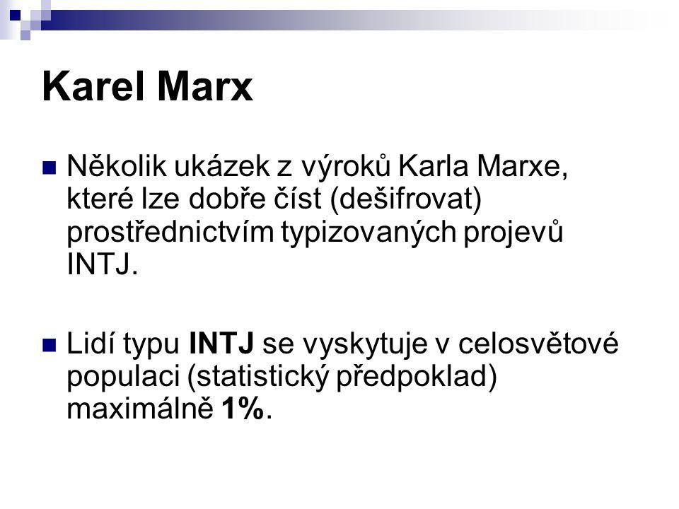 Několik ukázek z výroků Karla Marxe, které lze dobře číst (dešifrovat) prostřednictvím typizovaných projevů INTJ. Lidí typu INTJ se vyskytuje v celosv