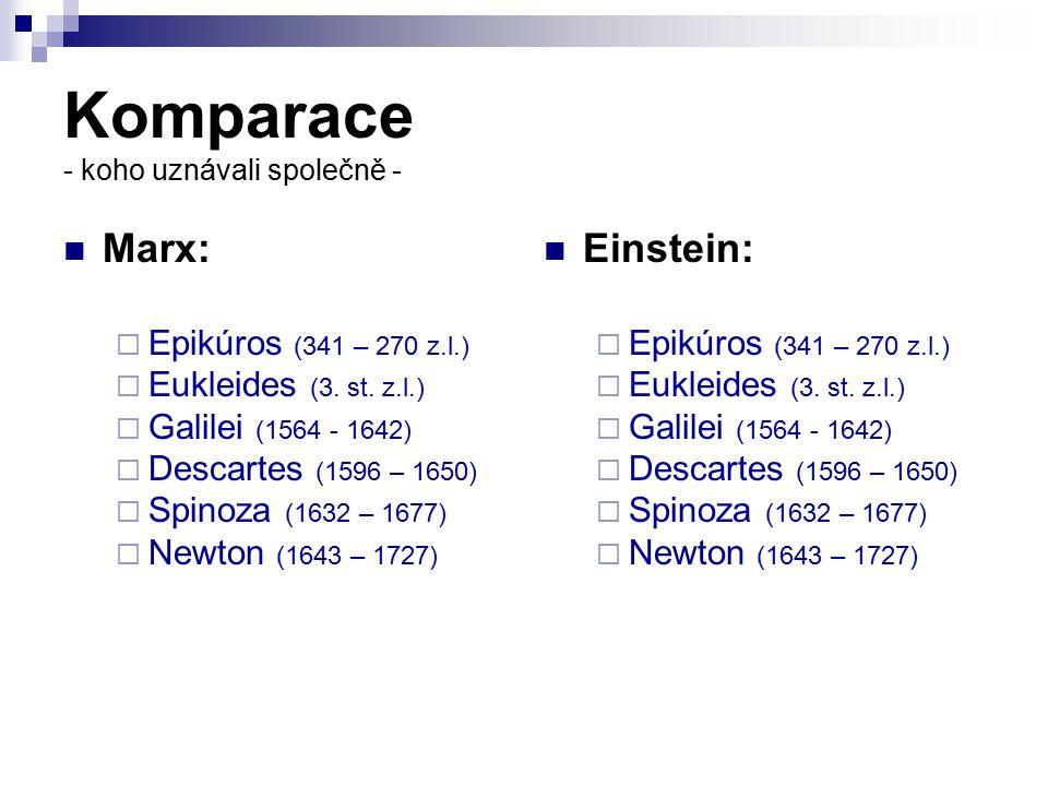 Komparace - koho uznávali společně - Marx:  Epikúros (341 – 270 z.l.)  Eukleides (3. st. z.l.)  Galilei (1564 - 1642)  Descartes (1596 – 1650)  S