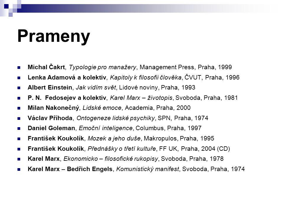 Prameny Michal Čakrt, Typologie pro manažery, Management Press, Praha, 1999 Lenka Adamová a kolektiv, Kapitoly k filosofii člověka, ČVUT, Praha, 1996