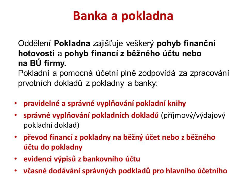 Banka a pokladna pravidelné a správné vyplňování pokladní knihy správné vyplňování pokladních dokladů (příjmový/výdajový pokladní doklad) převod finan
