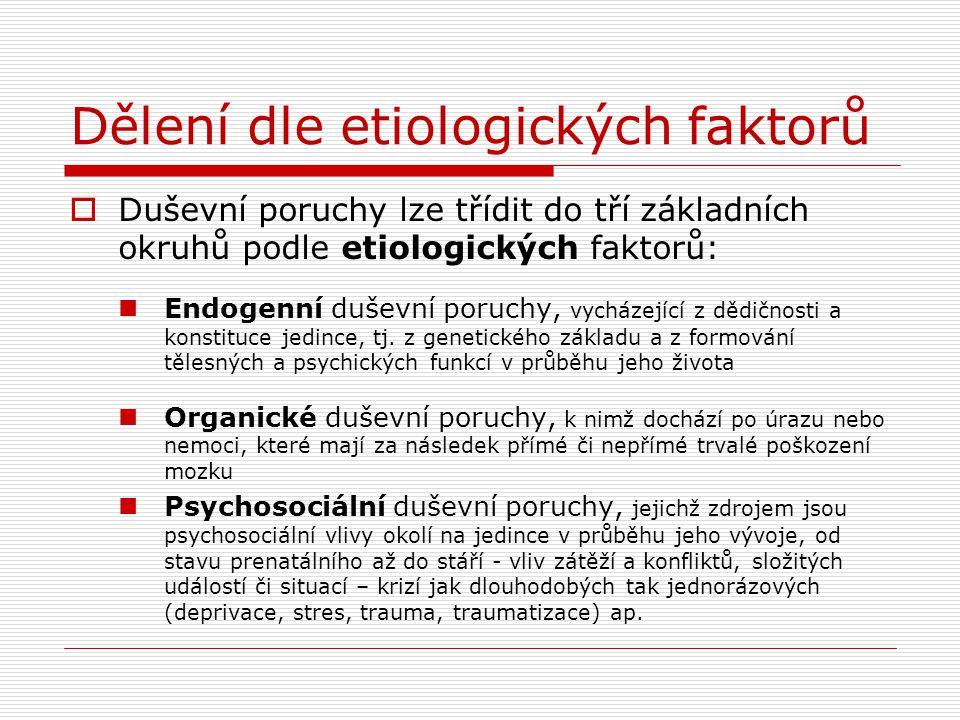 Dělení dle etiologických faktorů  Duševní poruchy lze třídit do tří základních okruhů podle etiologických faktorů: Endogenní duševní poruchy, vycháze