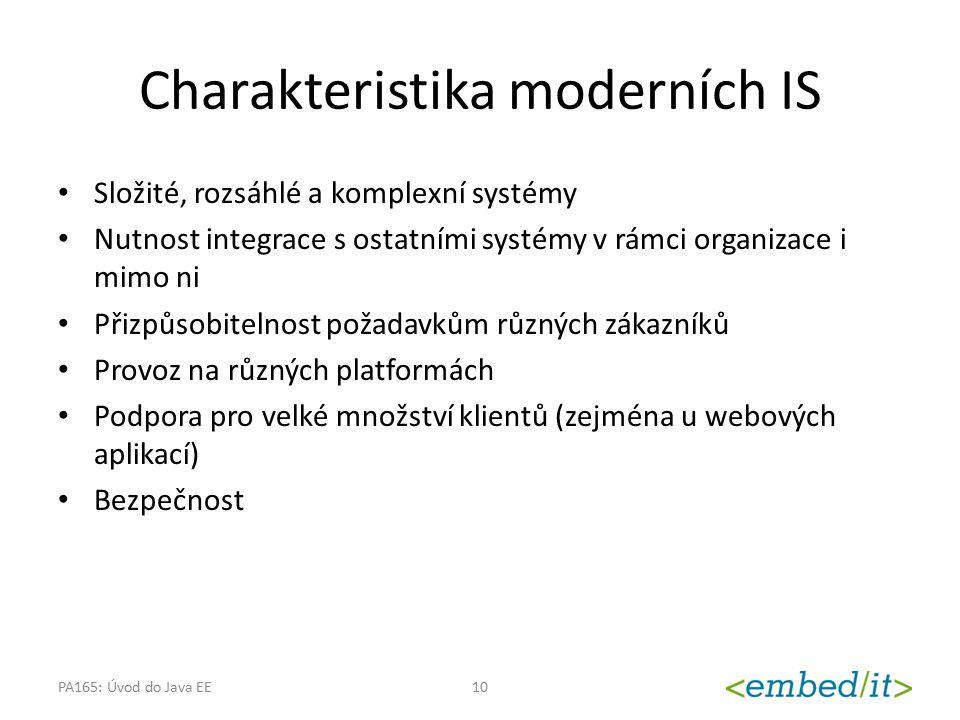 Charakteristika moderních IS Složité, rozsáhlé a komplexní systémy Nutnost integrace s ostatními systémy v rámci organizace i mimo ni Přizpůsobitelnos