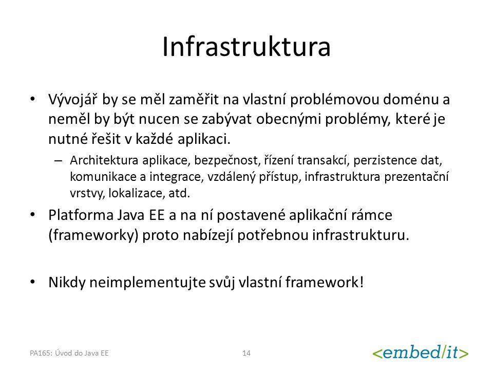 Infrastruktura Vývojář by se měl zaměřit na vlastní problémovou doménu a neměl by být nucen se zabývat obecnými problémy, které je nutné řešit v každé
