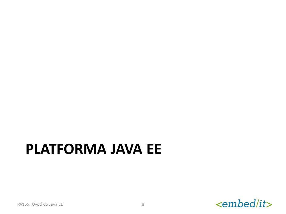 Co je to platforma Java EE Platforma pro vývoj moderních informačních systémů – Poskytuje potřebnou infrastrukturu – Průmyslový standard (JCP) – Aktuální verze je Java EE 6 (JSR 316) Podpora pro vývoj – Webových aplikací – Webových služeb – Vícevrstvých aplikací PA165: Úvod do Java EE9