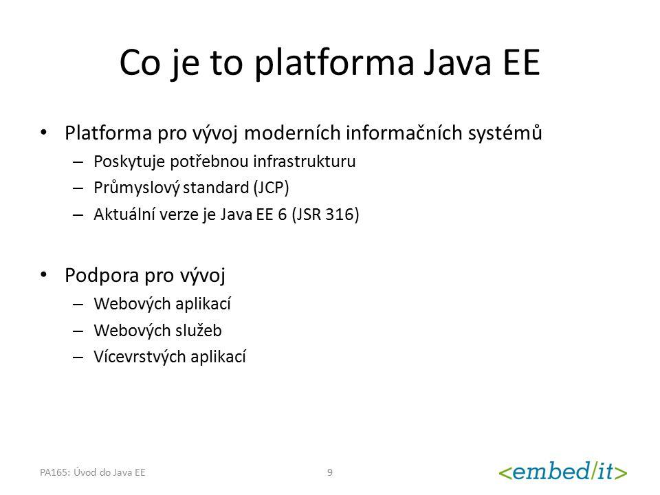Charakteristika moderních IS Složité, rozsáhlé a komplexní systémy Nutnost integrace s ostatními systémy v rámci organizace i mimo ni Přizpůsobitelnost požadavkům různých zákazníků Provoz na různých platformách Podpora pro velké množství klientů (zejména u webových aplikací) Bezpečnost PA165: Úvod do Java EE10