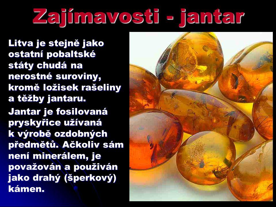 Zajímavosti - jantar Litva je stejně jako ostatní pobaltské státy chudá na nerostné suroviny, kromě ložisek rašeliny a těžby jantaru. Jantar je fosilo