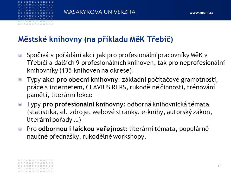 Městské knihovny (na příkladu MěK Třebíč) Spočívá v pořádání akcí jak pro profesionální pracovníky MěK v Třebíči a dalších 9 profesionálních knihoven, tak pro neprofesionální knihovníky (135 knihoven na okrese).