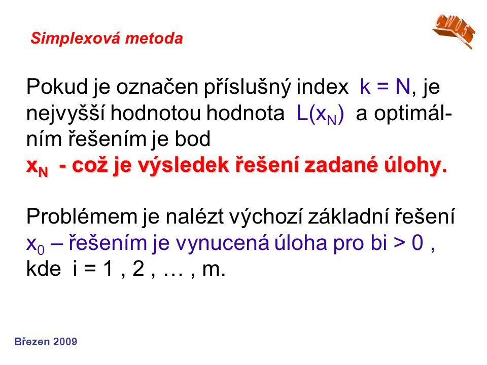 x N - což je výsledek řešení zadané úlohy. Pokud je označen příslušný index k = N, je nejvyšší hodnotou hodnota L(x N ) a optimál- ním řešením je bod