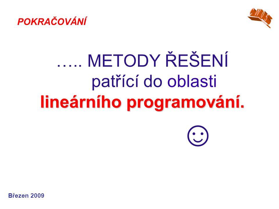 lineárního programování. ….. METODY ŘEŠENÍ patřící do oblasti lineárního programování.