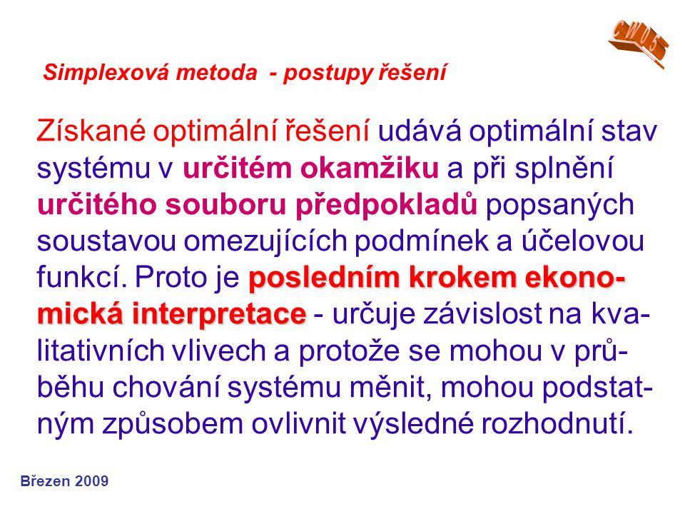 posledním krokem ekono- mická interpretace Získané optimální řešení udává optimální stav systému v určitém okamžiku a při splnění určitého souboru pře