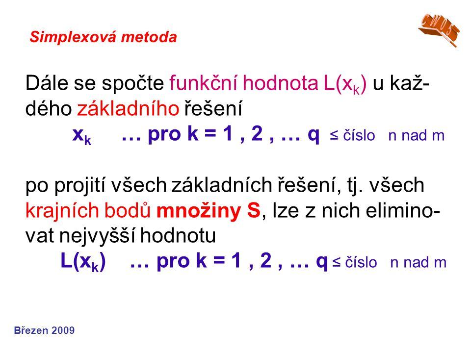Dále se spočte funkční hodnota L(x k ) u kaž- dého základního řešení x k … pro k = 1, 2, … q ≤ číslo n nad m po projití všech základních řešení, tj. v