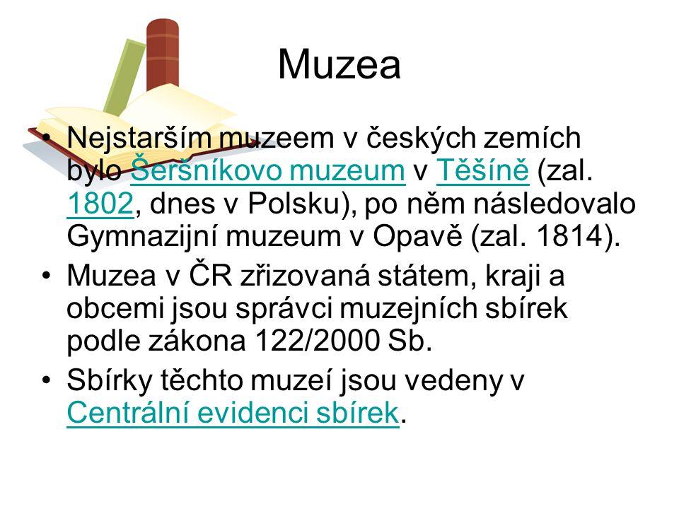 Muzea Nejstarším muzeem v českých zemích bylo Šeršníkovo muzeum v Těšíně (zal. 1802, dnes v Polsku), po něm následovalo Gymnazijní muzeum v Opavě (zal