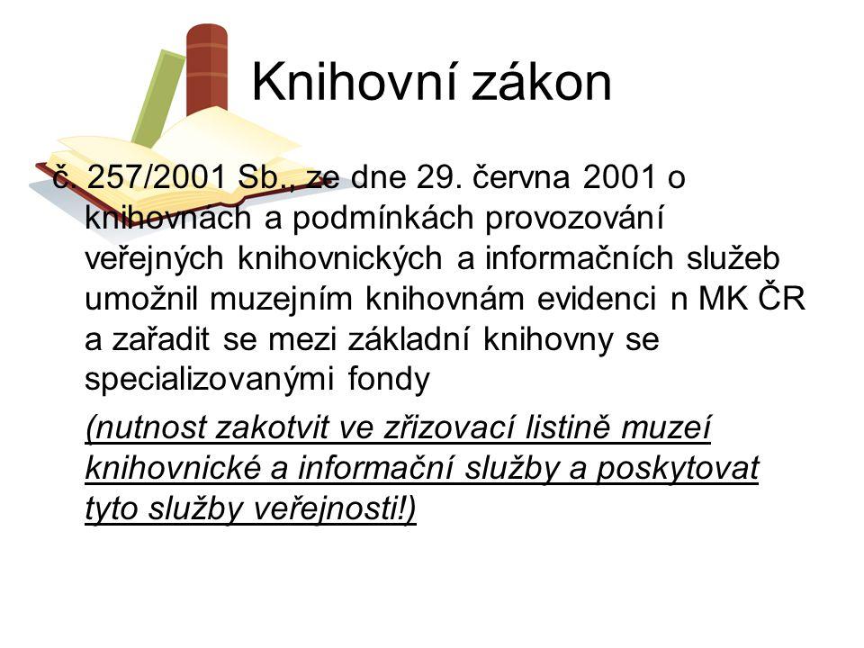 Knihovní zákon č. 257/2001 Sb., ze dne 29. června 2001 o knihovnách a podmínkách provozování veřejných knihovnických a informačních služeb umožnil muz