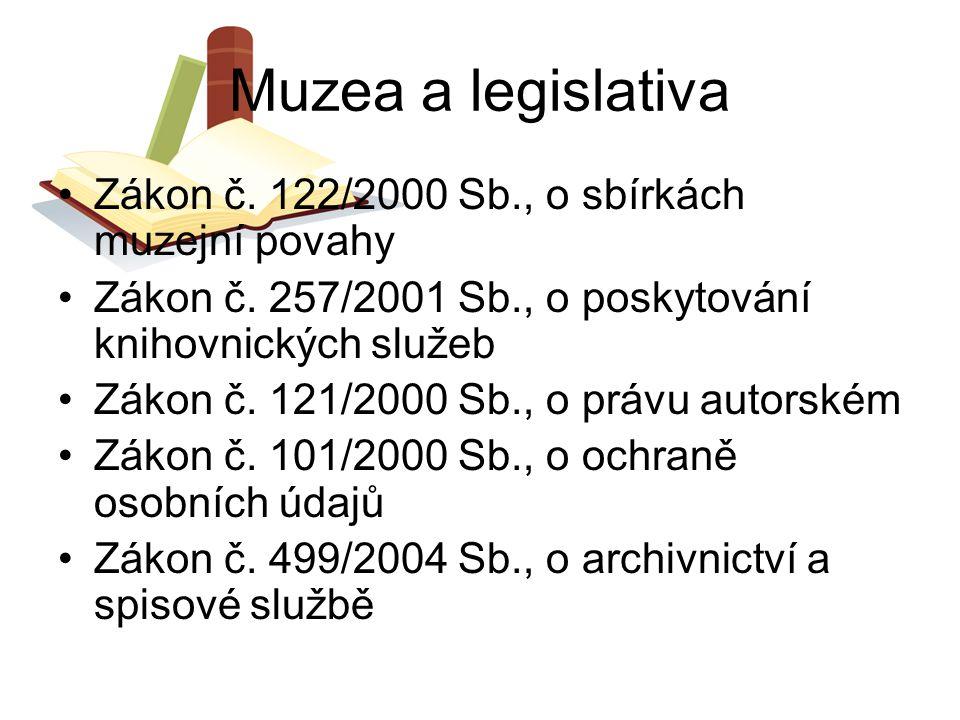 Muzea a legislativa Zákon č. 122/2000 Sb., o sbírkách muzejní povahy Zákon č. 257/2001 Sb., o poskytování knihovnických služeb Zákon č. 121/2000 Sb.,