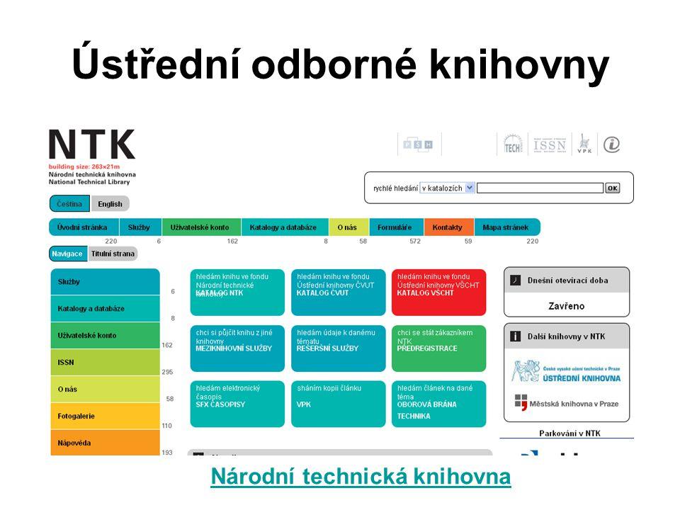 Ústřední odborné knihovny Národní technická knihovna