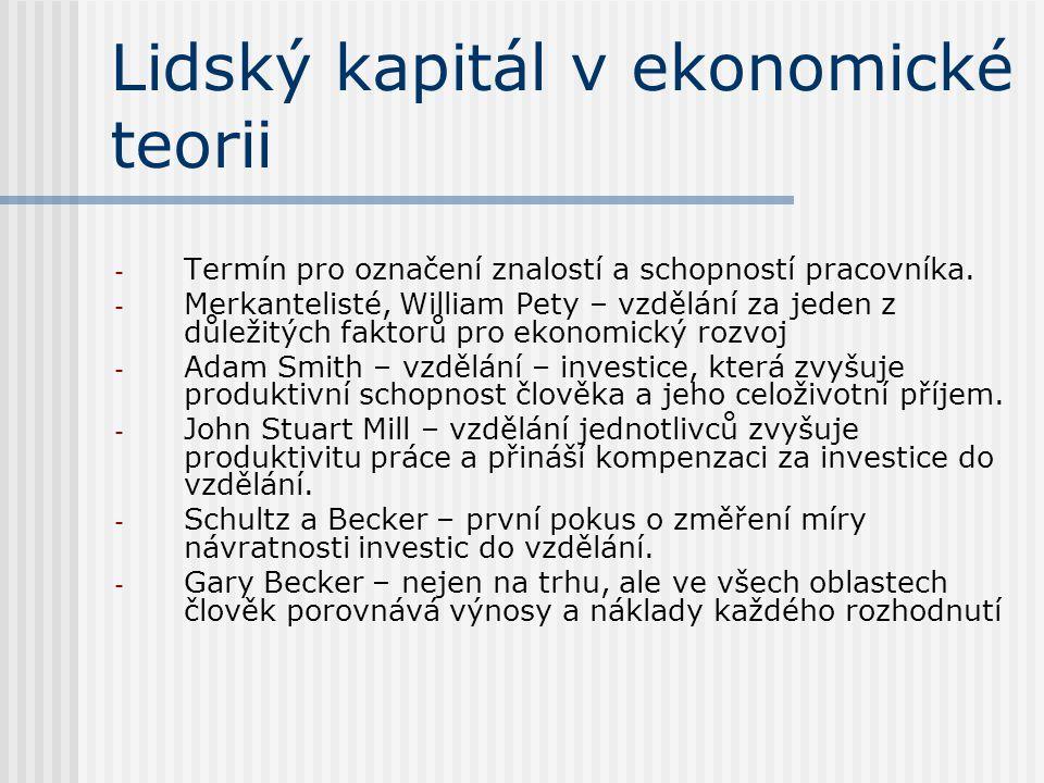 Lidský kapitál v ekonomické teorii - Termín pro označení znalostí a schopností pracovníka. - Merkantelisté, William Pety – vzdělání za jeden z důležit