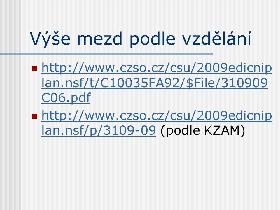 Výše mezd podle vzdělání http://www.czso.cz/csu/2009edicnip lan.nsf/t/C10035FA92/$File/310909 C06.pdf http://www.czso.cz/csu/2009edicnip lan.nsf/t/C10