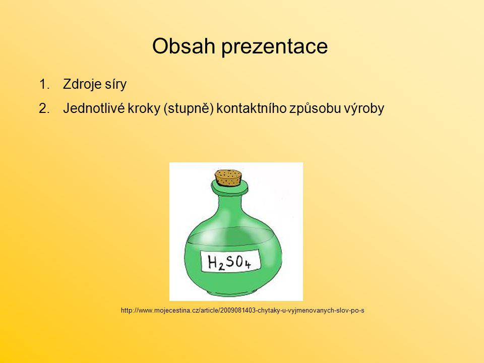 Obsah prezentace 1.Zdroje síry 2.Jednotlivé kroky (stupně) kontaktního způsobu výroby http://www.mojecestina.cz/article/2009081403-chytaky-u-vyjmenova