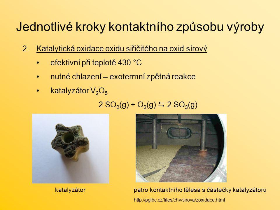 Jednotlivé kroky kontaktního způsobu výroby 2.Katalytická oxidace oxidu siřičitého na oxid sírový efektivní při teplotě 430 °C nutné chlazení – exotermní zpětná reakce katalyzátor V 2 O 5 2 SO 2 (g) + O 2 (g)  2 SO 3 (g) katalyzátorpatro kontaktního tělesa s částečky katalyzátoru http://pglbc.cz/files/chv/sirova/zoxidace.html