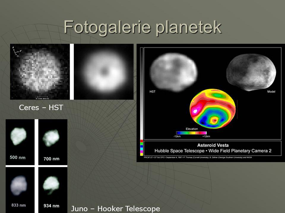 Fotogalerie planetek Ceres – HST Juno – Hooker Telescope
