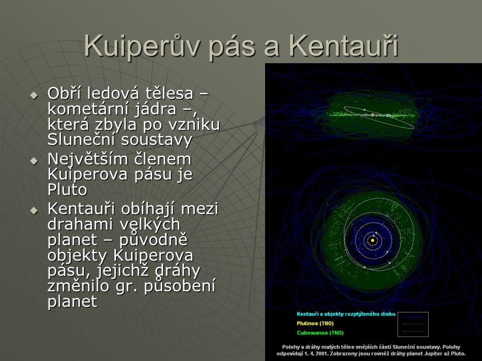 Kuiperův pás a Kentauři  Obří ledová tělesa – kometární jádra –, která zbyla po vzniku Sluneční soustavy  Největším členem Kuiperova pásu je Pluto 