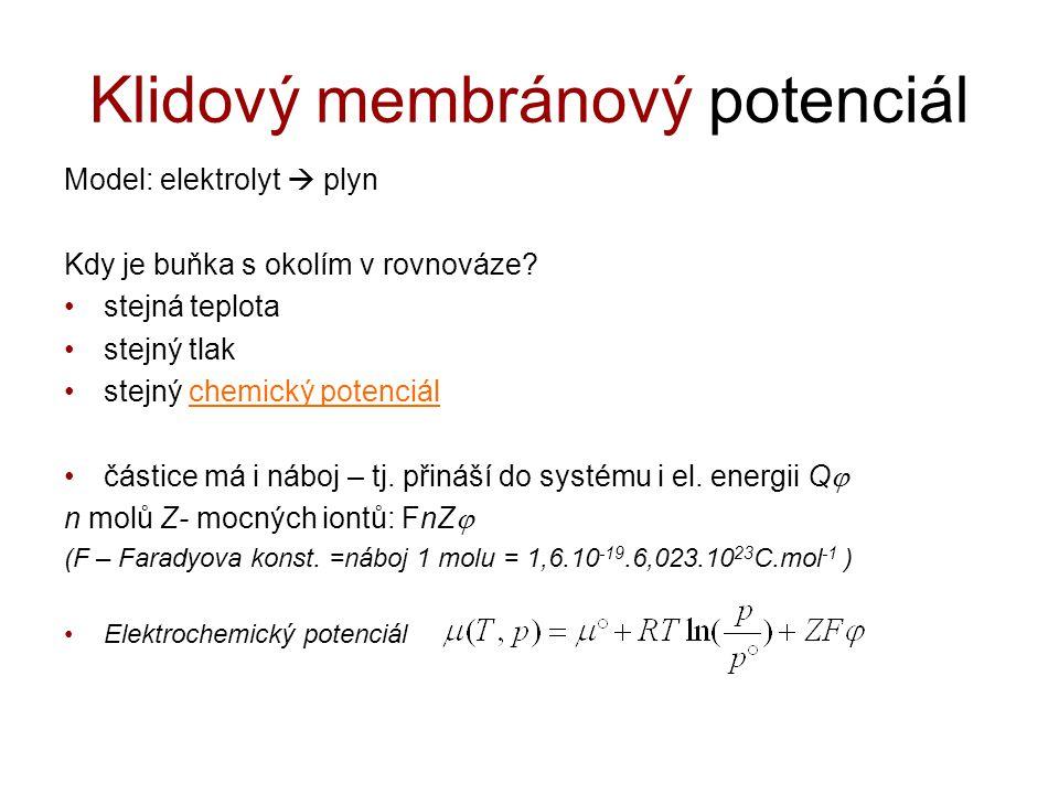 Klidový membránový potenciál Model: elektrolyt  plyn Kdy je buňka s okolím v rovnováze? stejná teplota stejný tlak stejný chemický potenciálchemický