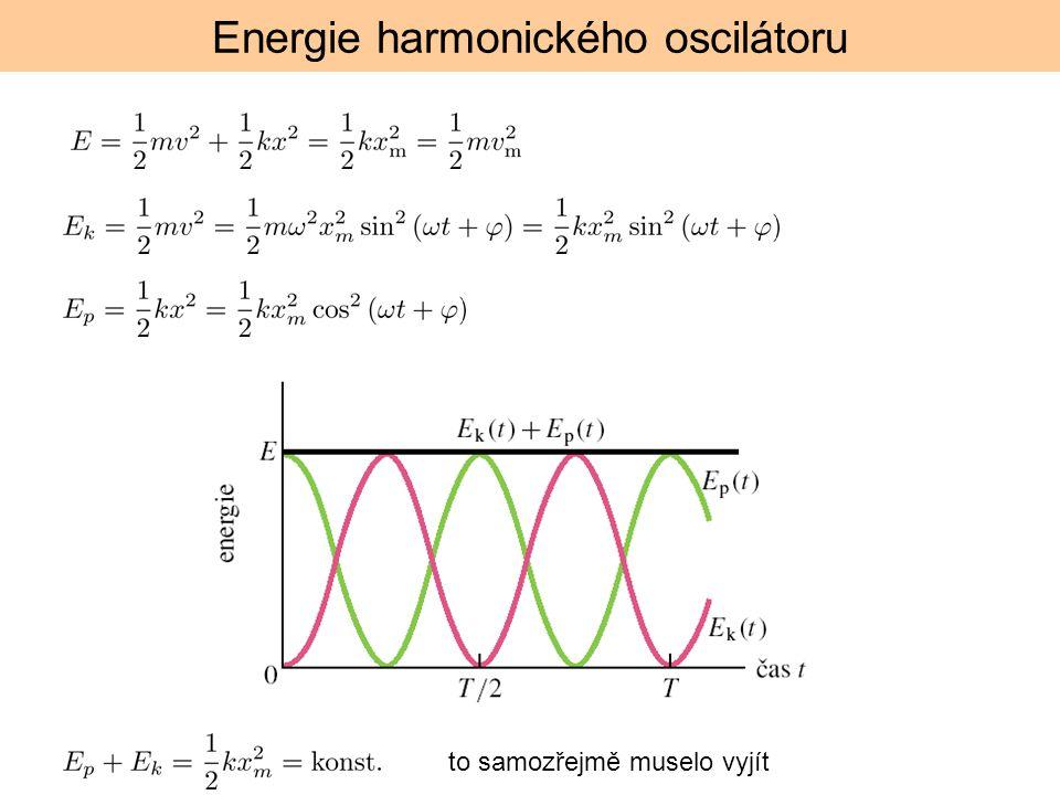 Energie harmonického oscilátoru to samozřejmě muselo vyjít