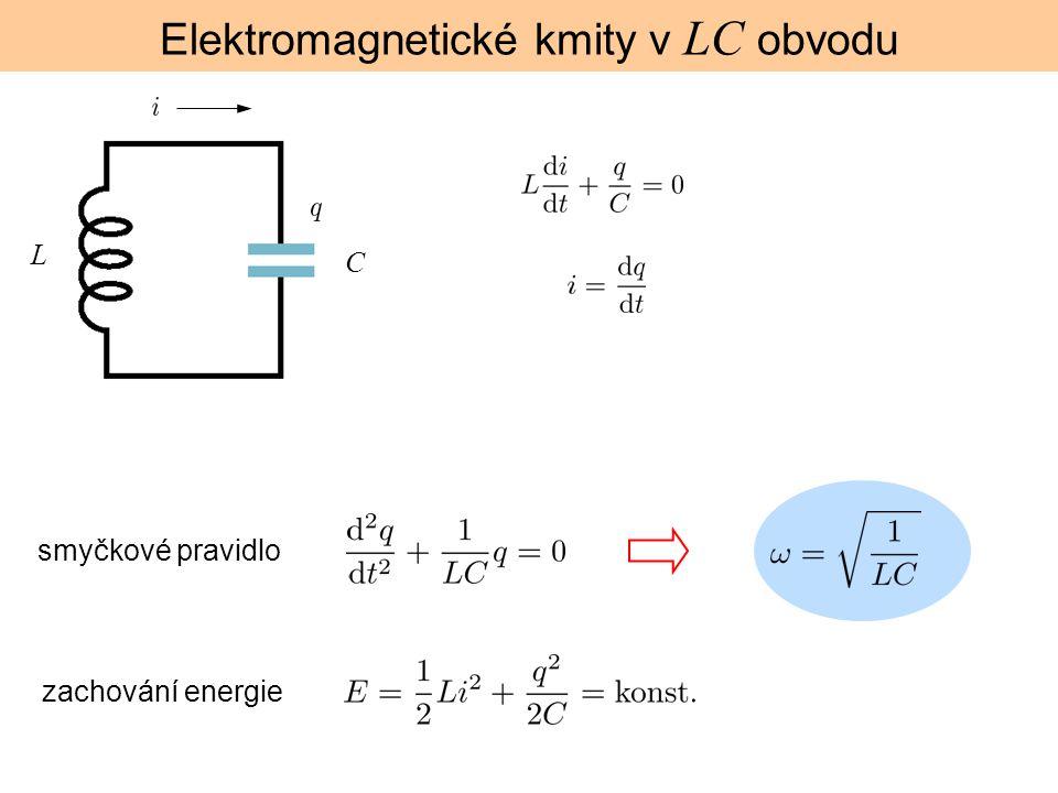 Elektromagnetické kmity v LC obvodu L C smyčkové pravidlo zachování energie