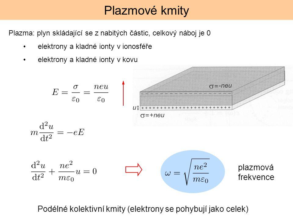 Plazmové kmity Plazma: plyn skládající se z nabitých částic, celkový náboj je 0 elektrony a kladné ionty v ionosféře elektrony a kladné ionty v kovu P