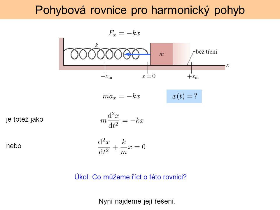 Pohybová rovnice pro harmonický pohyb je totéž jako nebo Úkol: Co můžeme říct o této rovnici? Nyní najdeme její řešení.