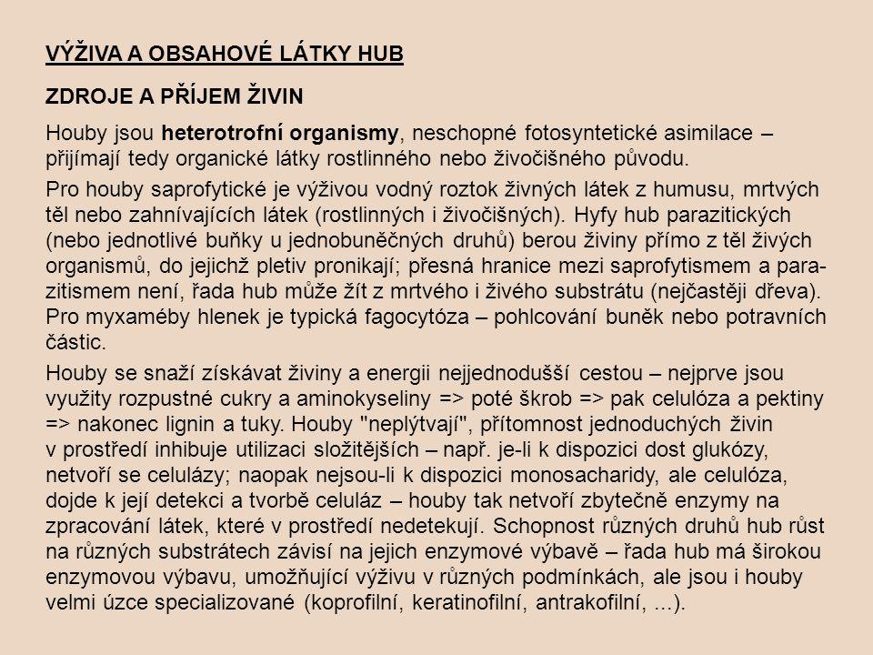VÝŽIVA A OBSAHOVÉ LÁTKY HUB ZDROJE A PŘÍJEM ŽIVIN Houby jsou heterotrofní organismy, neschopné fotosyntetické asimilace – přijímají tedy organické lát