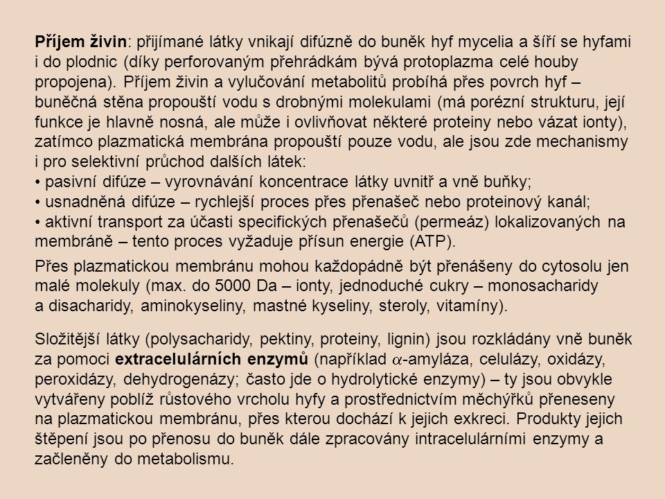 Příjem živin: přijímané látky vnikají difúzně do buněk hyf mycelia a šíří se hyfami i do plodnic (díky perforovaným přehrádkám bývá protoplazma celé h
