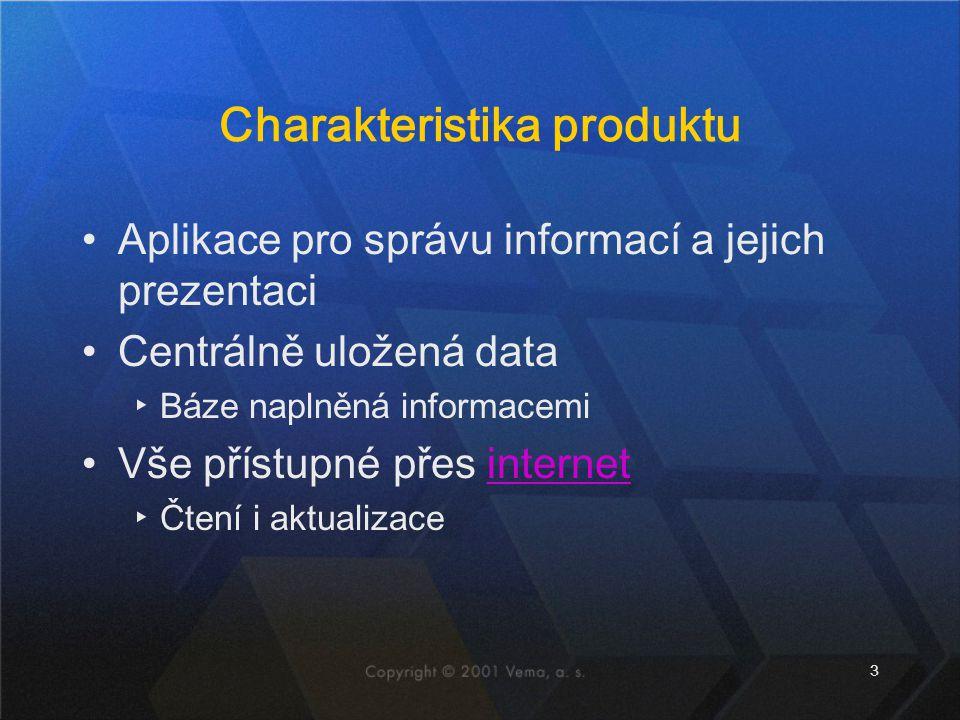 3 Charakteristika produktu Aplikace pro správu informací a jejich prezentaci Centrálně uložená data ▸Báze naplněná informacemi Vše přístupné přes internet ▸Čtení i aktualizace