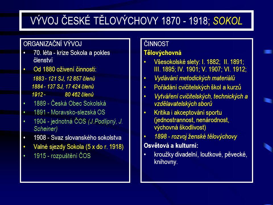 VÝVOJ ČESKÉ TĚLOVÝCHOVY 1870 - 1918; SOKOL ORGANIZAČNÍ VÝVOJ 70. léta - krize Sokola a pokles členství Od 1880 oživení činnosti: 1883 - 121 SJ, 12 857