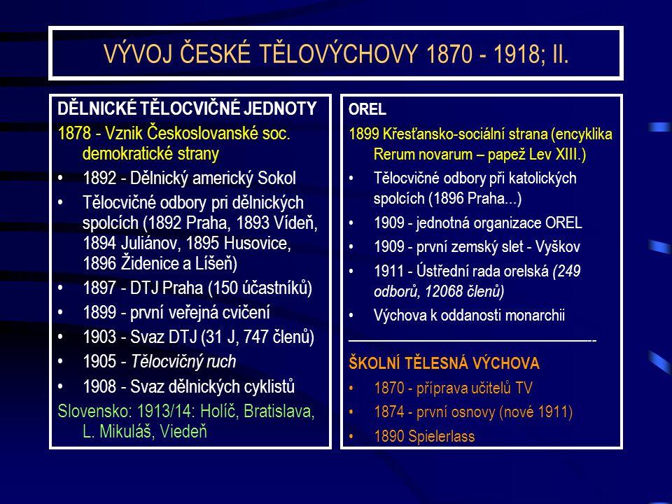VÝVOJ ČESKÉ TĚLOVÝCHOVY 1870 - 1918; II. DĚLNICKÉ TĚLOCVIČNÉ JEDNOTY 1878 - Vznik Českoslovanské soc. demokratické strany 1892 - Dělnický americký Sok