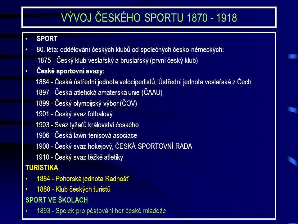 VÝVOJ ČESKÉHO SPORTU 1870 - 1918 SPORT 80.
