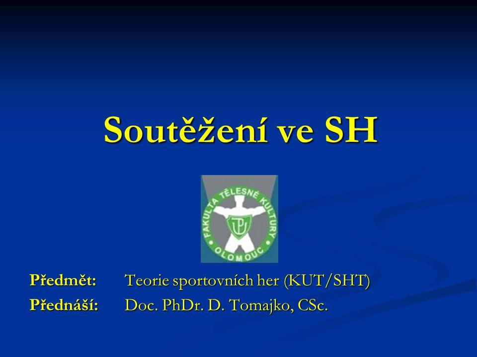 Soutěžení ve SH Předmět: Teorie sportovních her (KUT/SHT) Přednáší: Doc. PhDr. D. Tomajko, CSc.