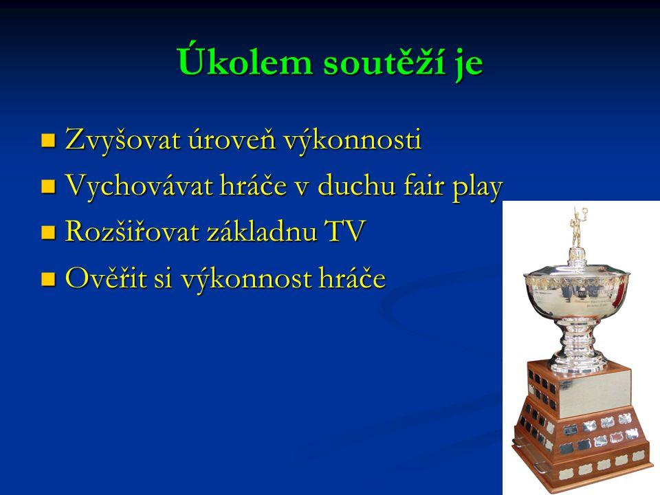 Úkolem soutěží je Zvyšovat úroveň výkonnosti Zvyšovat úroveň výkonnosti Vychovávat hráče v duchu fair play Vychovávat hráče v duchu fair play Rozšiřovat základnu TV Rozšiřovat základnu TV Ověřit si výkonnost hráče Ověřit si výkonnost hráče