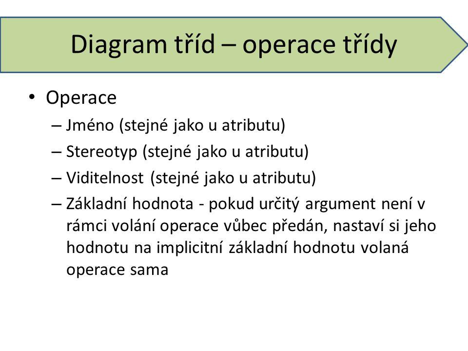 Diagram tříd – operace třídy Operace – Jméno (stejné jako u atributu) – Stereotyp (stejné jako u atributu) – Viditelnost (stejné jako u atributu) – Zá