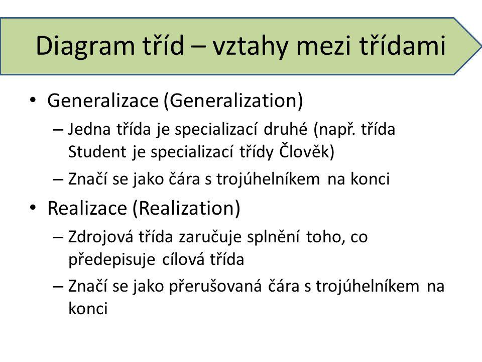 Diagram tříd – vztahy mezi třídami Generalizace (Generalization) – Jedna třída je specializací druhé (např. třída Student je specializací třídy Člověk