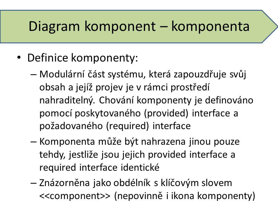 Diagram komponent – komponenta Definice komponenty: – Modulární část systému, která zapouzdřuje svůj obsah a jejíž projev je v rámci prostředí nahradi