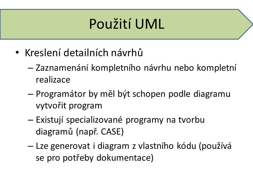 Použití UML Kreslení detailních návrhů – Zaznamenání kompletního návrhu nebo kompletní realizace – Programátor by měl být schopen podle diagramu vytvo