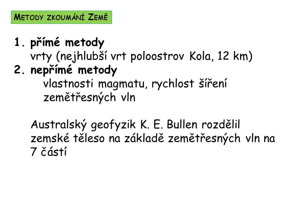 1.přímé metody vrty (nejhlubší vrt poloostrov Kola, 12 km) 2.
