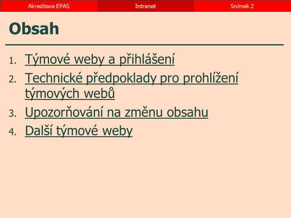 Obsah 1. Týmové weby a přihlášení Týmové weby a přihlášení 2. Technické předpoklady pro prohlížení týmových webů Technické předpoklady pro prohlížení