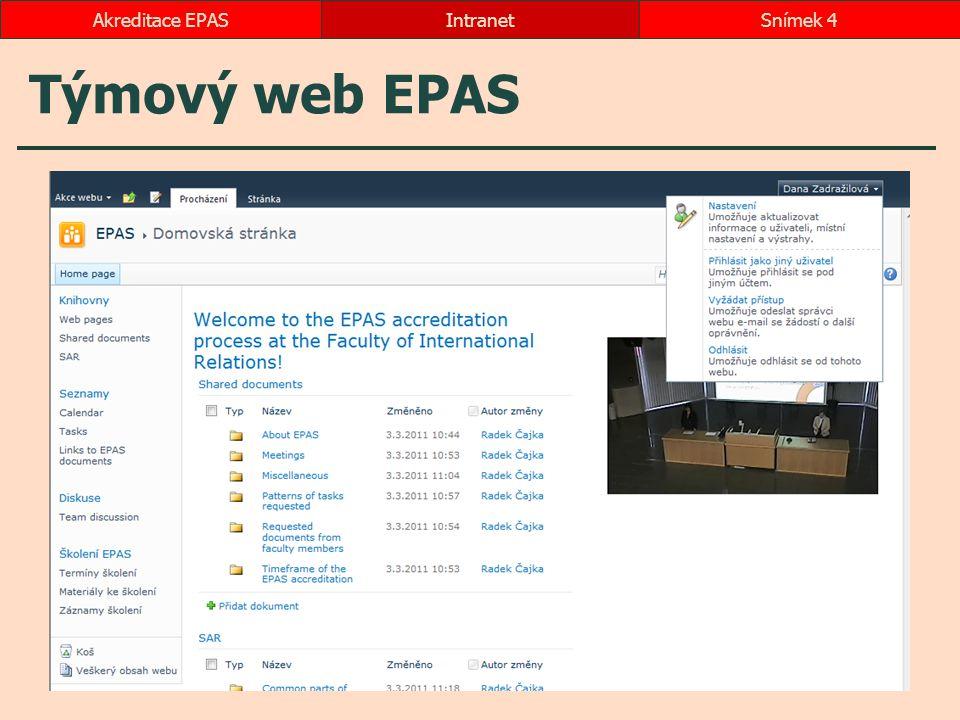 Týmový web EPAS IntranetSnímek 4Akreditace EPAS
